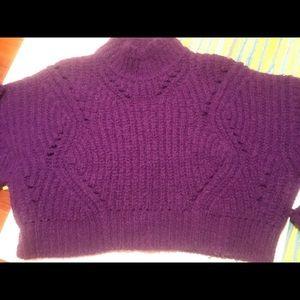 Isabel Marant Sweaters - purple chunk-knit wool sweater, crop Isabel Marant
